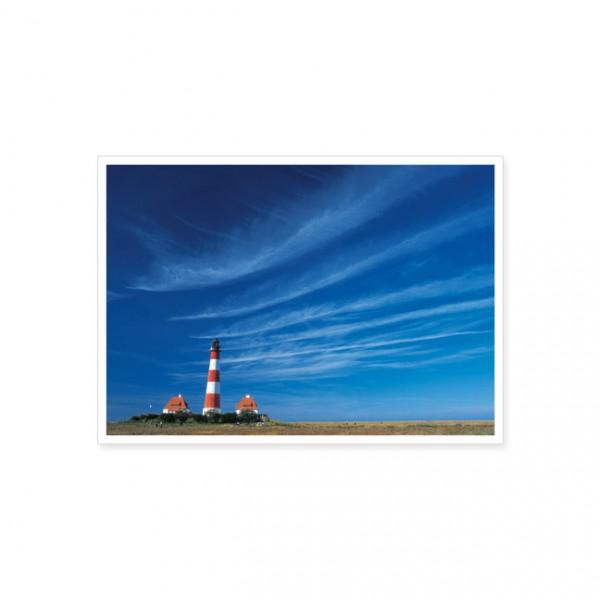 """Postkarte """"Leuchtturm Westerhever mit Federwolken"""""""
