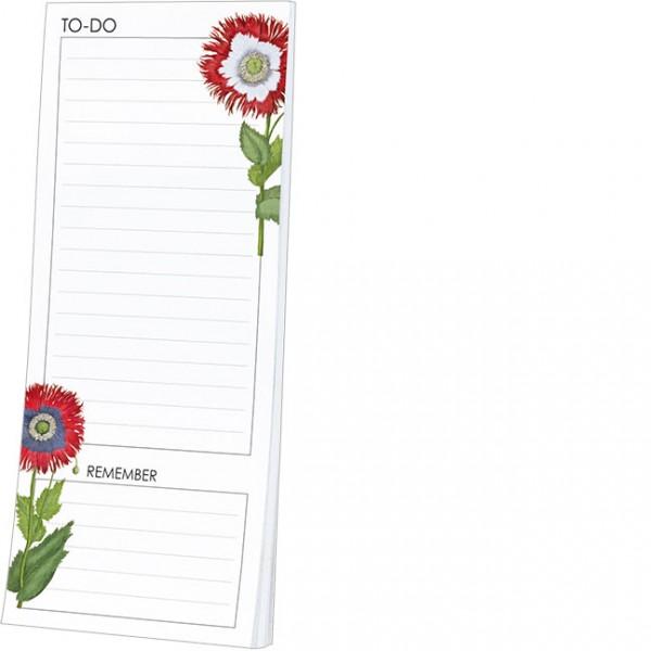 """Kühlschrankblöckchen """"To-Do Liste mit Dekorativen Mohnblumen aus dem Garten von Eichstätt"""""""
