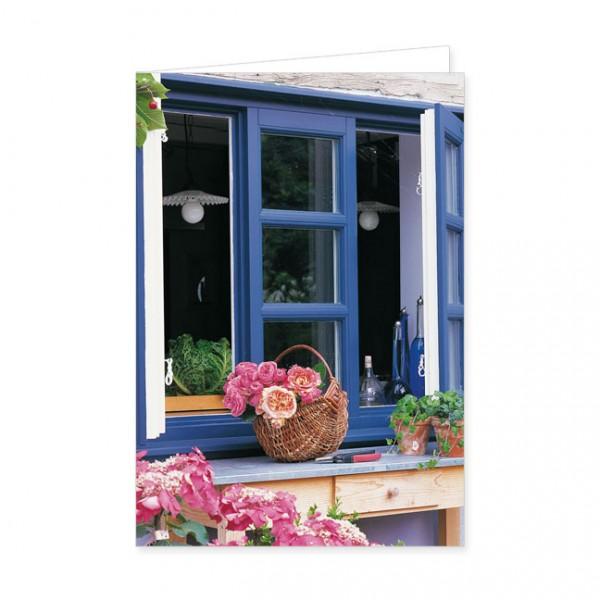 """Doppelkarte """"Rosenkorb vor blauem Fenster"""""""