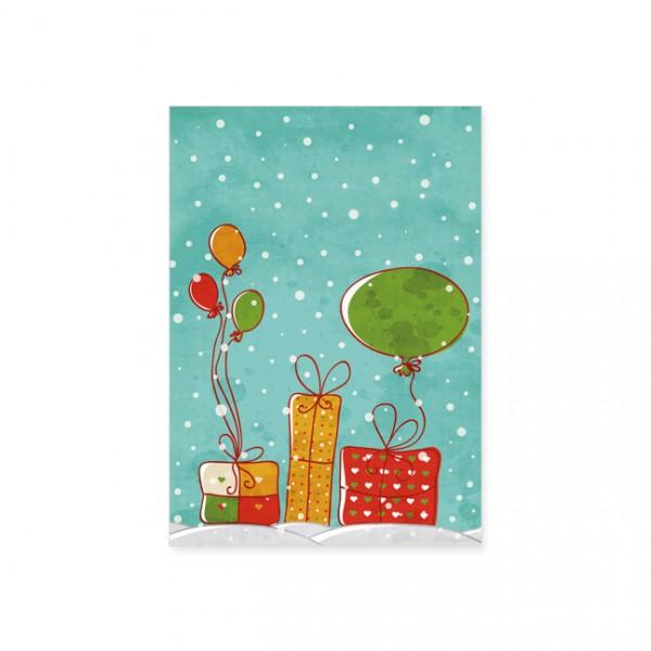 """Postkarte """"Geschenke und Luftballons"""""""