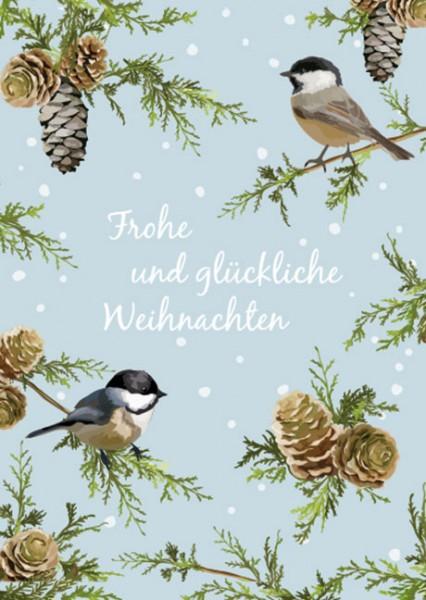 """Postkarte X-Mas """"Meisen auf Zweigen"""""""
