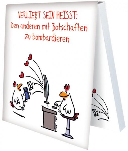 """Klebezettel """"Verliebt sein … Nachrichten bombardieren"""""""
