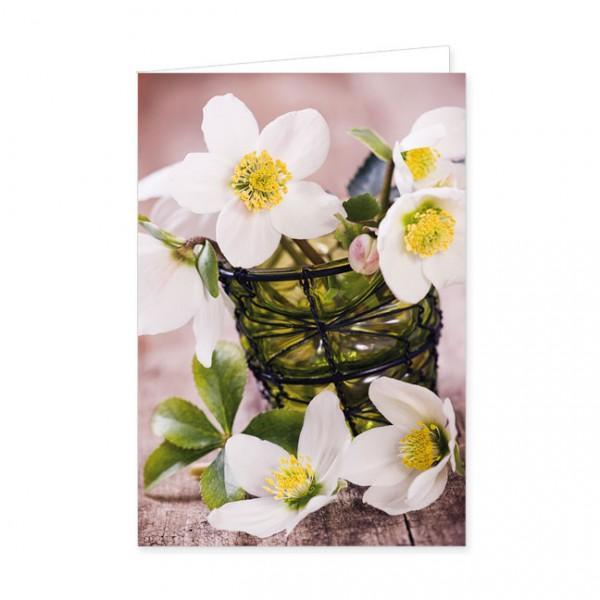 """Doppelkarte """"Vase mit weißen Christrosen"""""""