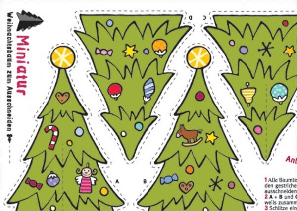 """Postkarte X-Mas """"Weihnachtsbaum zum Ausschneiden"""""""