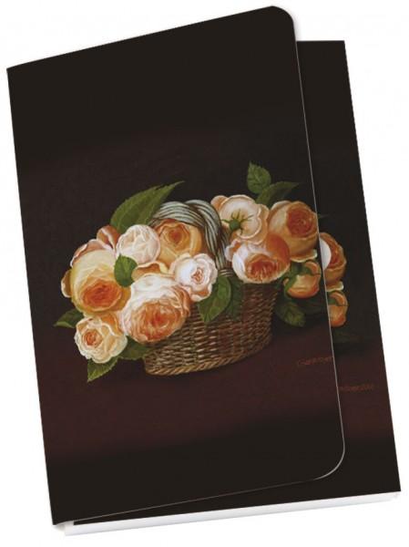"""Taschennotizblöckchen """"Bastkorb mit blühenden Rosen"""""""