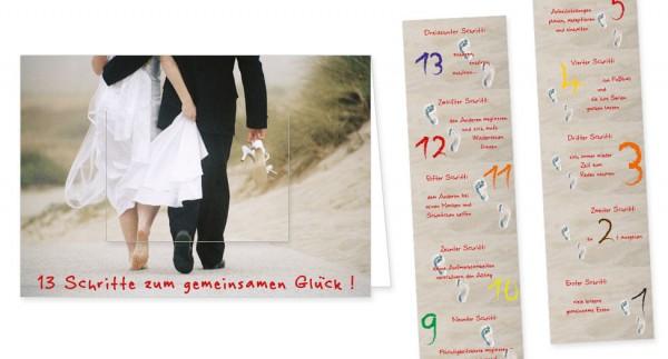 """Türchenkarte """"13 Schritte zum gemeinsamen Glück"""""""