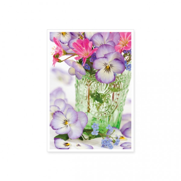 "Postkarte ""Frühlingsstrauß in grüner Vase"""