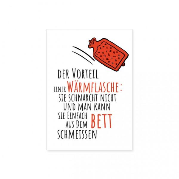 """Postkarte """" Vorteil einer Wärmflasche """""""