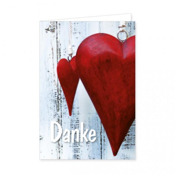 """Doppelkarten """"Rote Herzen zum Dank"""""""