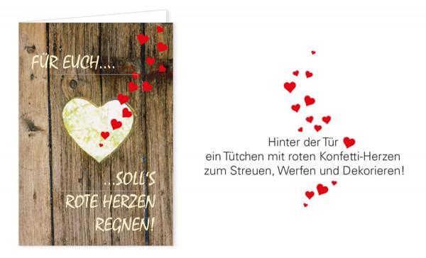 """Türchenkarte """"Für euch soll's rote Herzen regnen"""""""