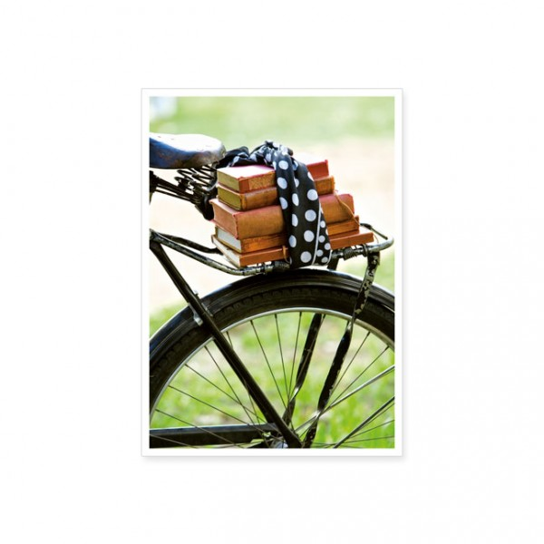 """Postkarte """"Fahrrad mit Büchern"""""""
