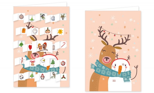Adventskalenderdoppelkarte 'Hallo'