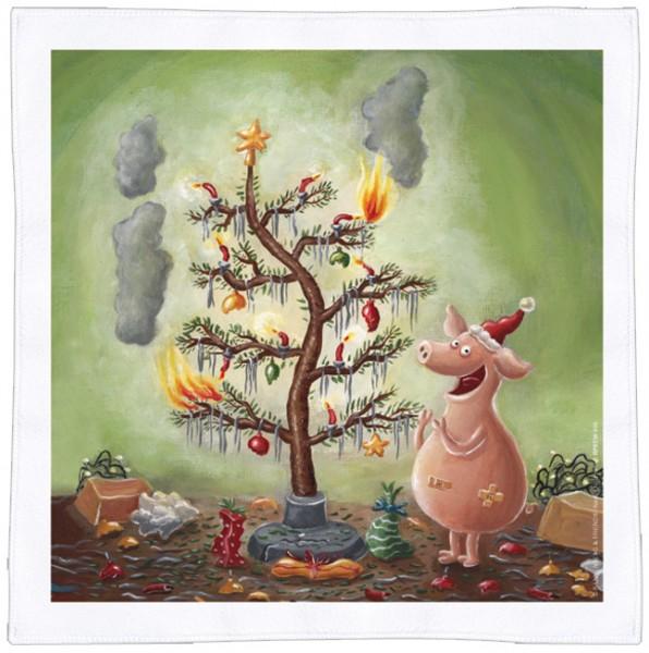 Spültuch Weihnachten 'Weihnachten mit dem Chaos-Schwein'