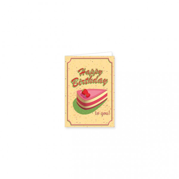 "Mini-Doppelkarte ""Happy Birthday - Tortenstück"""