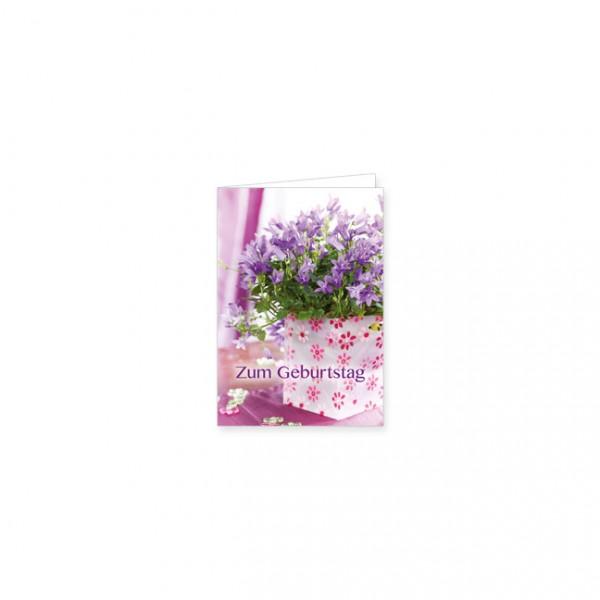 """Mini-Doppelkarte """"Zum Geburtstag mit Glockenblumen"""""""