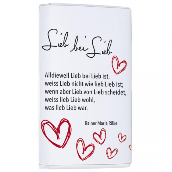 Schokoladentäfelchen 'Lieb bei Lieb'
