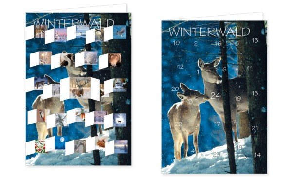 "Adventskalenderkarten "" Winterwald """
