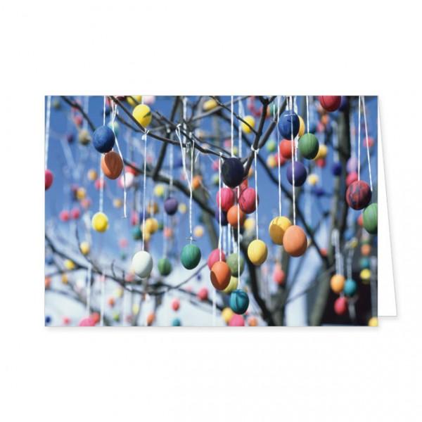 """Doppelkarte """"Bunte Eier im Baum"""""""