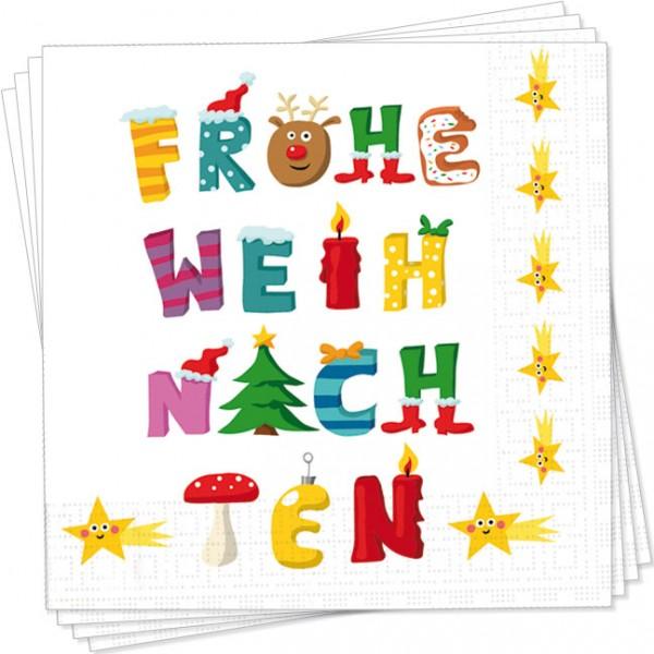 """X-Mas Servietten """"Frohe Weihnachten"""""""