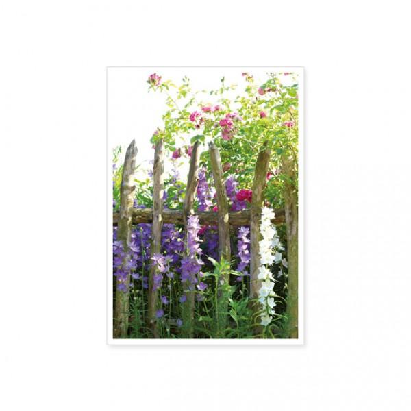 "Postkarte ""Blumen am Gartenzaun"""