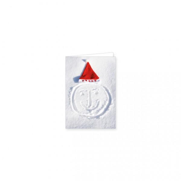 """Mini-Doppelkarte X-Mas """"Weihnachtsmütze im Schnee"""""""