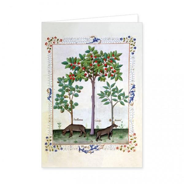 """Doppelkarte Gold """"Haselnussbusch und Kirschbaum"""""""