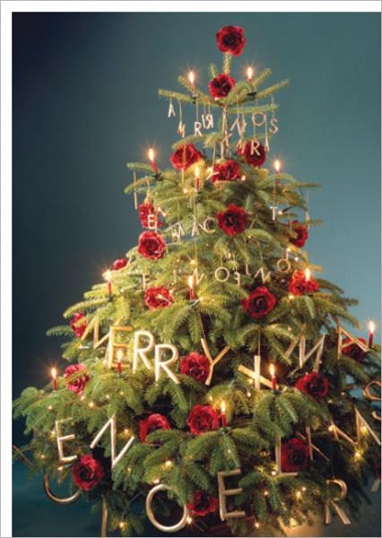 """Postkarte X-Mas """"Weihnachtsbaum in Gold"""""""