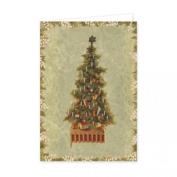 "Doppelkarte Lack X-Mas ""Weihnachtsbaum, alte Oblate"""