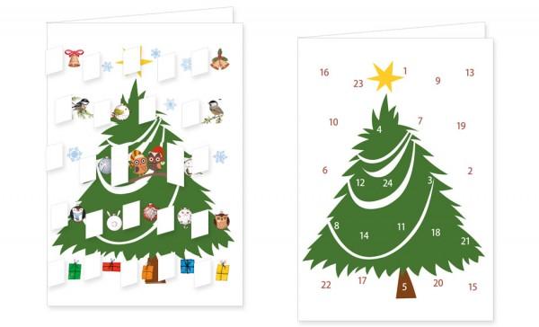Adventskalenderdoppelkarte 'Tannenbaum'