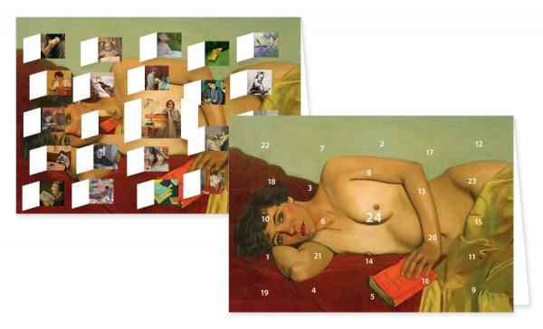 Adventskalenderdoppelkarte 'Lesende Frauen'