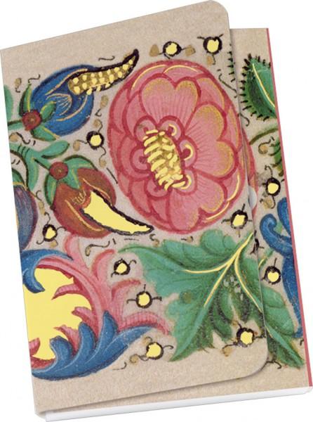 """Taschennotizblock Gold """"Aus dem Buch von Hours, Inmitten von Blumen"""""""