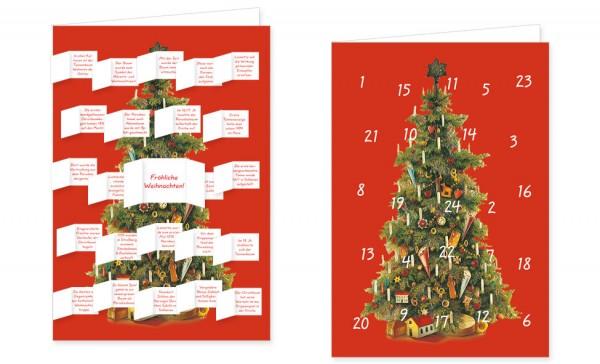 Adventskalenderdoppelkarte 'Weihnachtsbaum Oblate'