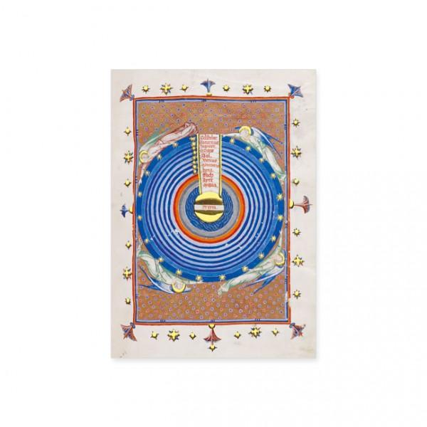 """Postkarte Gold """"Diagramm des Ptolemäischen Systems"""""""