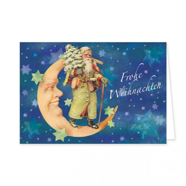 """Doppelkarte Lack X-Mas """"Weihnachtsmann im Mond"""""""