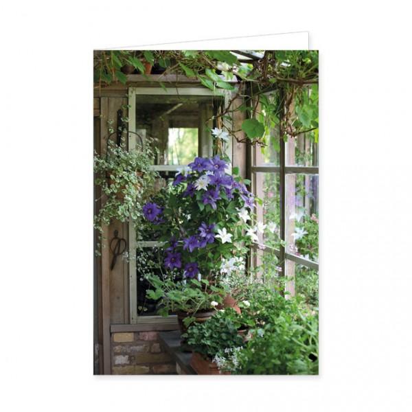 """Doppelkarte """" Blumen im Gewächshaus """""""