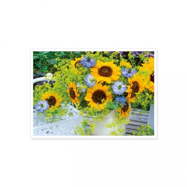 """Postkarte """"Jungfern im Grünen mit Sonnenblumen"""""""