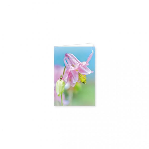 """Mini-Doppelkarte """"Rosa Akelei"""""""