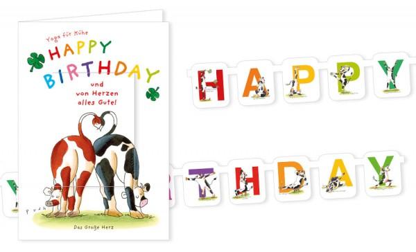 Turchenkarte Happy Birthday Mit Den Yoga Kuhen Turchenkarten
