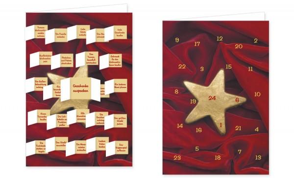 Adventskalenderdoppelkarte 'Goldstern auf Samt'