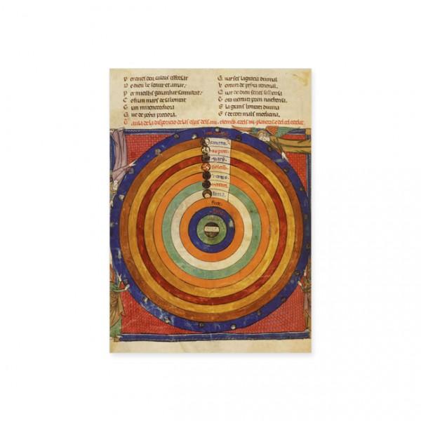 """Postkarte Gold """"Planetenbewegung in Relation zur Erde"""""""
