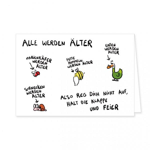 """Doppelkarte """"Alle werden älter"""""""