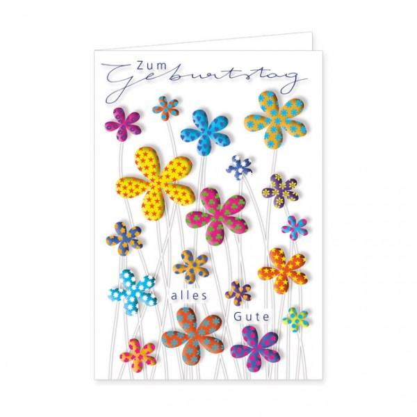 "Doppelkarten ""Zum Geburtstag bunte Blumen"""