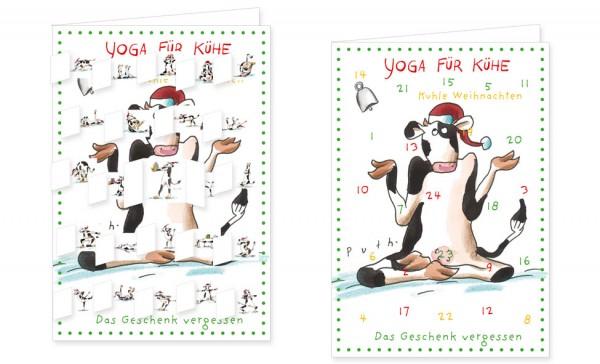 Adventskalenderdoppelkarte 'Yoga für Kühe – Kuhle Weihnachten'
