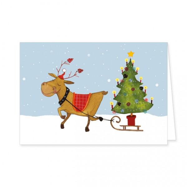 """Doppelkarten X-Mas """"Rentier mit Weihnachtsbaum"""""""