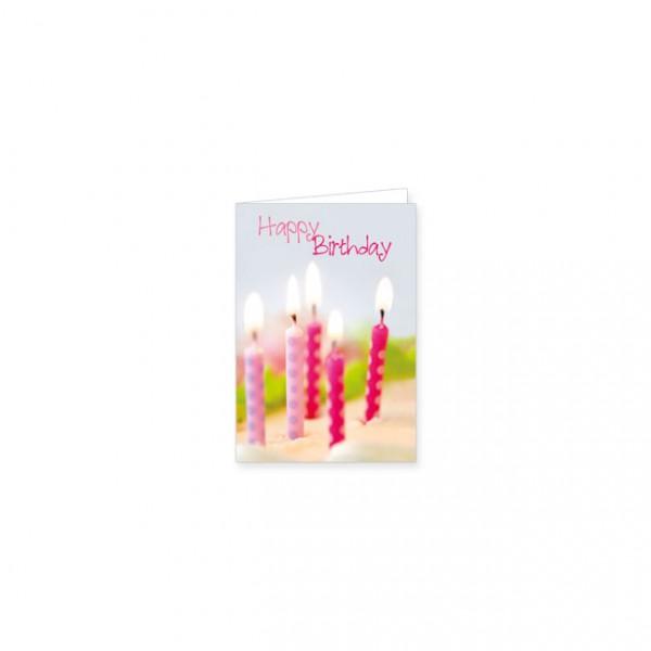 "Mini-Doppelkarte ""Happy Birthday mit rosa Kerzen"""