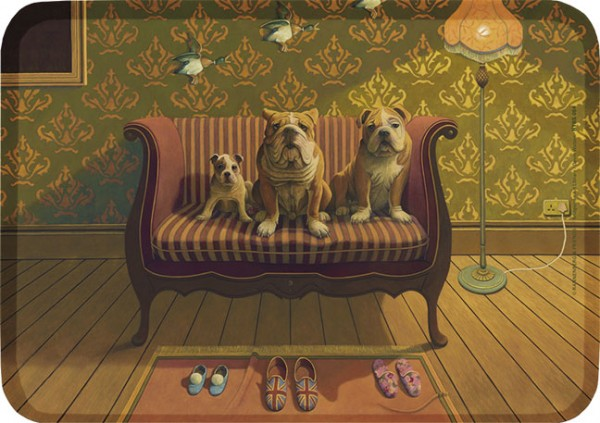 "Tablett small ""Doggs-Bunte Hunde / Creature Comforts"""