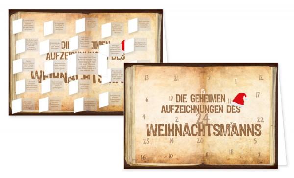 Adventskalenderdoppelkarte 'Geheime Aufzeichnungen'