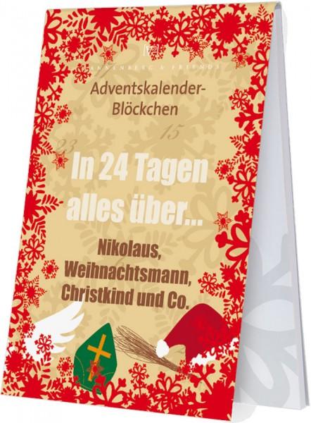 Adventskalenderblöckchen 'Nikolaus, Weihnachtsmann und Christkind' RSBW 023
