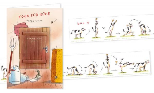 """Türchenkarte """"Yoga für Kühe"""""""