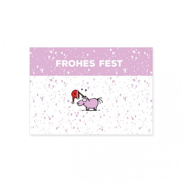 """Postkarte X-Mas """"Frohes Fest mit dem Einhorn"""""""